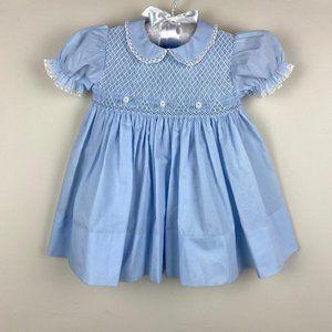 Feltman Brothers Smocked Blue Dress 9 Months NWT